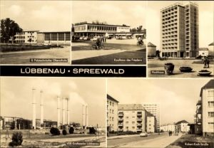 Ak Lübbenau im Spreewald, Oberschule, Hochhaus, Kaufhaus, VEB Kraftwerke, Robert Koch Straße