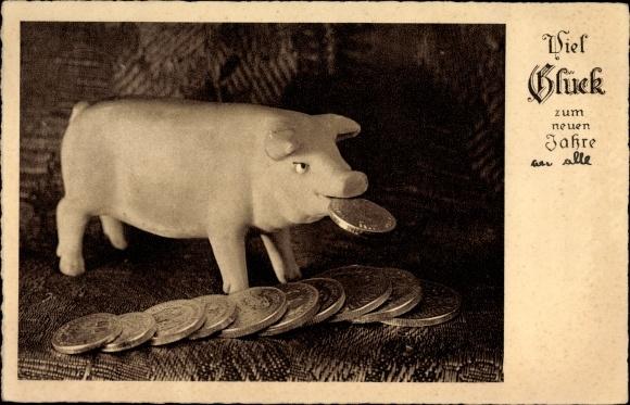 Ak Glückwunsch Neujahr, Schwein mit mehreren Münzen, Glücksschwein
