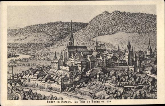 Künstler Ak Baden Kt. Aargau Schweiz, Historisches Bild der Stadt um 1600