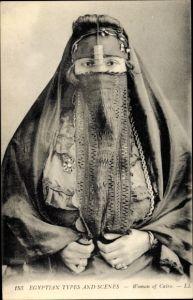 Ak Cairo Kairo Ägypten, Woman of Cairo, Burkha, Portrait