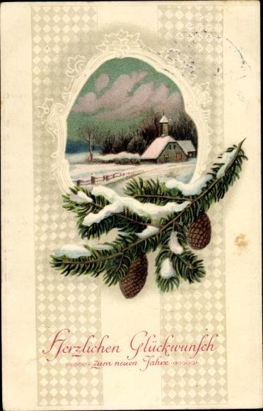Präge Litho Glückwunsch Neujahr, Winterlandschaft, Tannenzweig, Zapfen