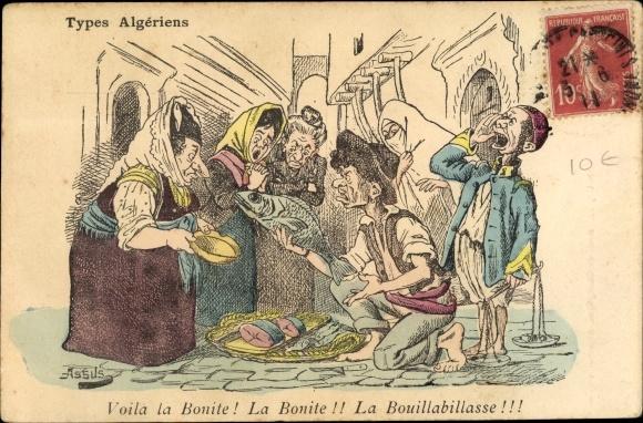 Künstler Ak Types Algériens, Voila la Bonite, La Bouillabillasse, Frauen beim Fischhändler