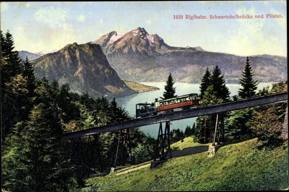 Ak Rigibahn, Schnurtobelbrücke und Pilatus