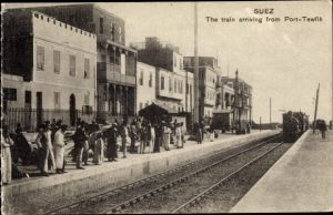 Ak Suez Ägypten, The Train arriving from Port Tewfik