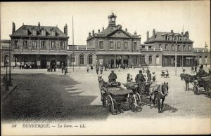 Ak Dunkerque Nord, La Gare, Bahnhof, Straßenseite