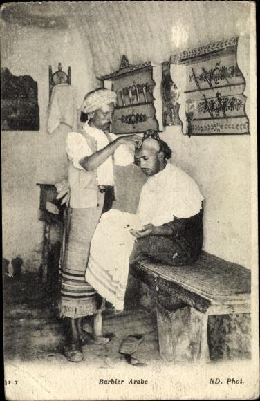 Ak Barbier Arabe, Friseur Stube