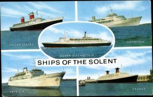 Ak Ships of the Solent, Queen Elizabeth II, Canberra, France, Patricia, United States, USL, HAPAG