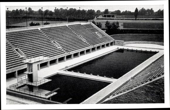 Ak Berlin Charlottenburg, Reichssportfeld, Blick von der Kampfbahn auf das Schwimmstadion