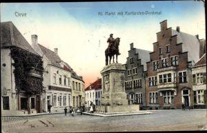 Ak Kleve Nordrhein Westfalen, Kleiner Markt mit Kurfürstendenkmal, Gasthaus Zum großen Kurfürsten
