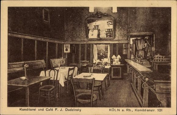 Ak Köln am Rhein, Konditorei und Café, Inh. F.J. Dudzinsky, Komödienstrasse 101
