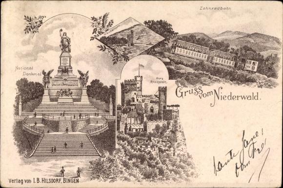 Litho Rüdesheim am Rhein in Hessen, Niederwald, Nationaldenkmal, Zahnradbahn, Burg Rheinstein
