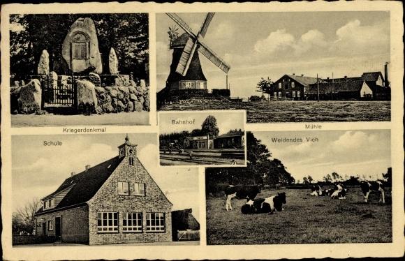 Ak Lübberstedt Niedersachsen, Schule, Denkmal, Bahnhof, Gastwirtschaft Zur Mühle, Inh. S. Bullwinkel