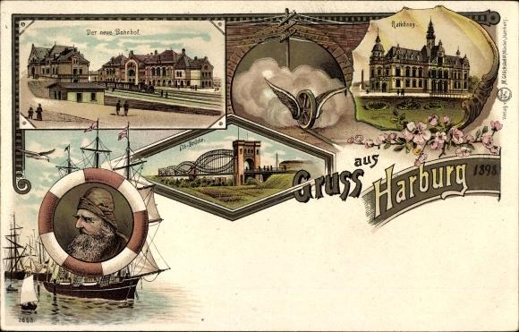Litho Hamburg Harburg, Neuer Bahnhof, Rathaus, Elbbrücke, Segelschiff, Seemann