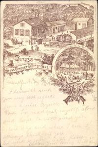 Litho Groß Gerau in Hessen, Groß Gerauer Fallthor Haus, Kaiserhalle