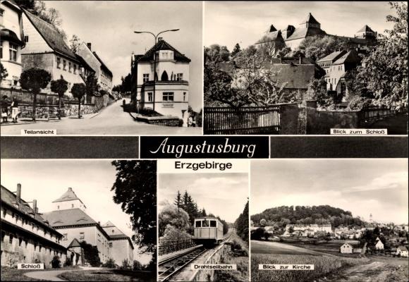 Ak Augustusburg im Erzgebirge, Straßenpartie, Schloss, Drahtseilbahn, Kirche