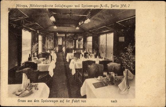 Ak Mitropa, Mitteleuropäische Schlafwagen und Speisewagen AG, Innenansicht, Eisenbahn