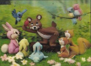 3 D Ak Bear and Rabbits, Bär und bunte Hasen, Eichhörnchen, Vögel