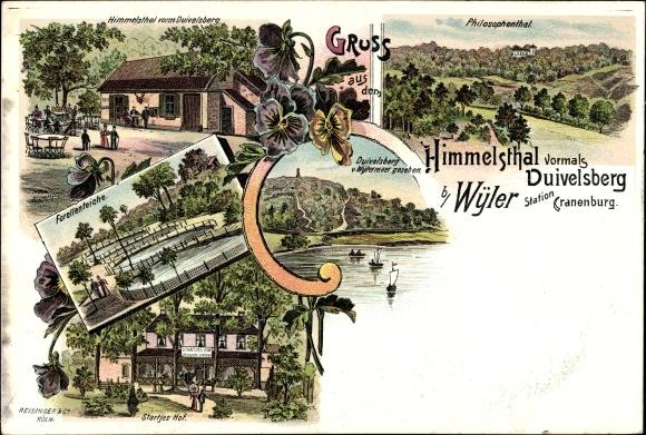 Litho Wyler Kranenburg im Kreis Kleve, Himmelstal, Duivelsberg, Startjes Hof, Inh. Johann Nebbi