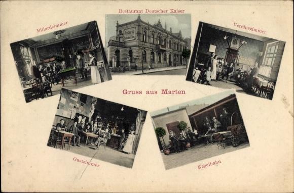 Ak Marten Dortmund, Restaurant Deutscher Kaiser, Billardzimmer, Kegelbahn, Vereinszimmer
