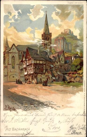 Künstler Litho Reiss, Fritz, Bacharach am Rhein im Kreis Mainz Bingen, Partie in der Altstadt