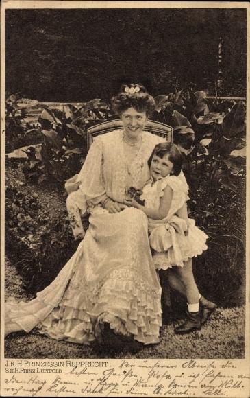 Ak Prinzessin Marie Gabriele in Bayern mit Prinz Luitpold, Portrait
