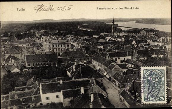 Ak Tulln an der Donau in Niederösterreich, Stadtpanorama, Blick vom Turm der Pfarrkirche