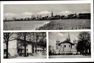 Ak Hainstadt Hainburg Hessen, Panorama vom Ort, Blick vom Mainufer, Kirche