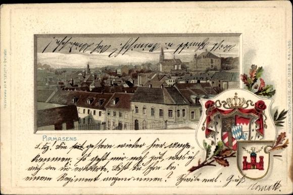 Präge Passepartout Litho Pirmasens am Pfälzerwald, Totalansicht der Stadt, Vogelschau, Stadtwappen