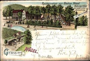 Litho Hösel Ratingen Nordrhein Westfalen, Restauration zur Station, Gesamtansicht, Bahnhof