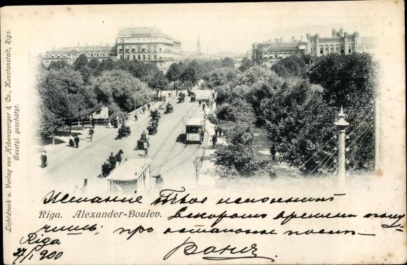 Ak Riga Lettland, Alexander Boulevard, Vogelschau, Pferdekutschen, Straßenbahnen, Stadtansichten