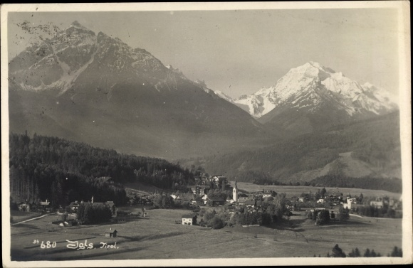 Ak Igls Tirol, Ort mit Gebirge