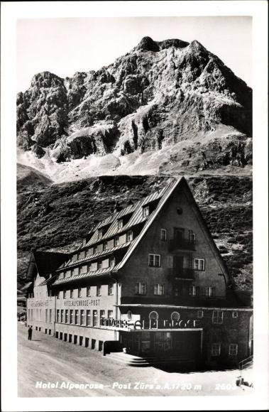 Ak Zürs am Arlberg Lech in Vorarlberg, Hotel Alpenrose u. Post, Außenansicht