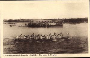 Ak Dakar Senegal, Une course de Pirogues, Afrikaner in Booten