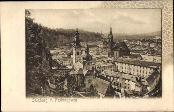 Ak Salzburg in Österreich, Blick vom Festungsweg