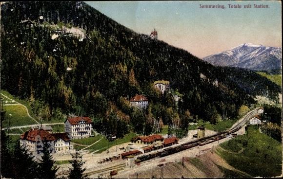 Ak Semmering in Niederösterreich, Totale mit Station