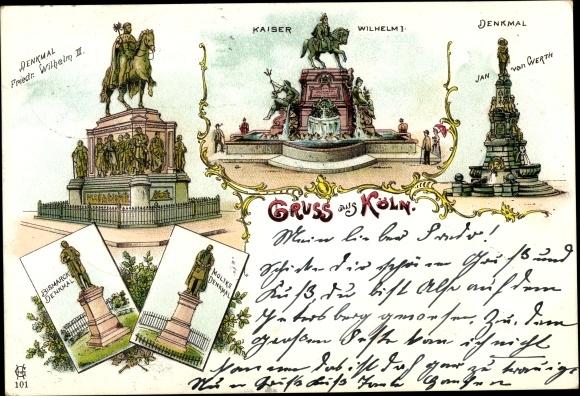 Litho Köln am Rhein, Denkmäler, Friedrich Kaiser Wilhelm II., Kaiser Wilhelm I., Jan von Werth