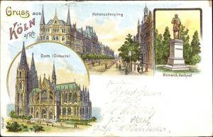 Litho Köln am Rhein, Hohenzollernring, Otto von Bismarck Denkmal, Dom