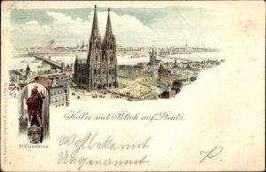 Litho Köln am Rhein, Panorama mit Dom, St. Cristoforus