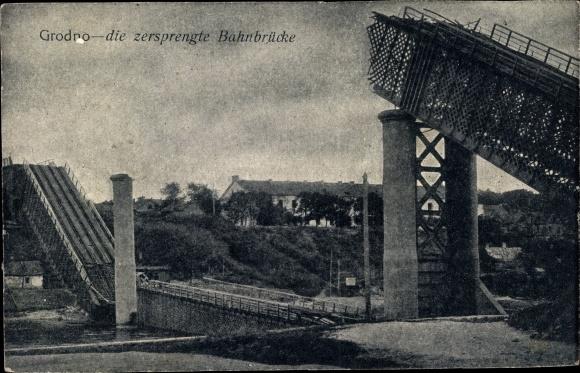 Ak Grodno Weißrussland, Die zersprengte Bahnbrücke, Kriegszerstörungen, I.WK