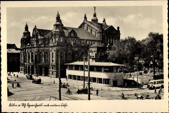 Ak Köln am Rhein, Opernhaus, Straßenpartie