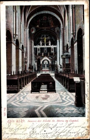 Ak Köln am Rhein, Inneres der Kirche St. Maria im Kapitol