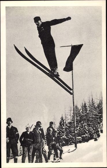 Ak Skispringer vor der Landung, Zuschauer