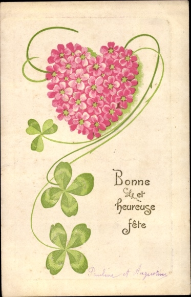Präge Ak Bonne et heureuse fete, Herz aus Blumen, Kleeblätter