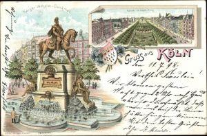 Wappen Litho Köln am Rhein, Kaiser Wilhelm Ring, Kaiser Wilhelm Denkmal