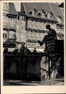 Ak Braunschweig in Niedersachsen, Till Eulenspiegel Brunnen auf dem Bäckerklint
