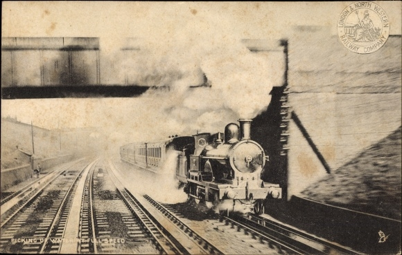 Ak London & North Western Railway, Picking up water at full speed, Dampflokomotive