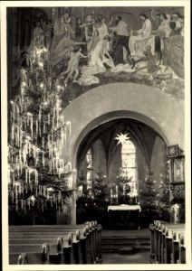 Ak Meerane in Sachsen, Kircheninneres, Weihnachtsbaum, Weihnachtstern