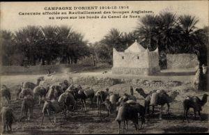 Ak Suez Kanal Ägypten, Caravane affectee au Ravitaillement des troupes anglaises