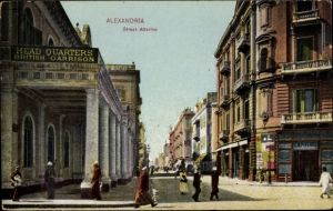 Ak Alexandria Ägypten, Street Attarine, British Garrison, Head Quarters