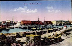 Ak Liepaja Libau Lettland, Hansabrücke, Lagerplatz